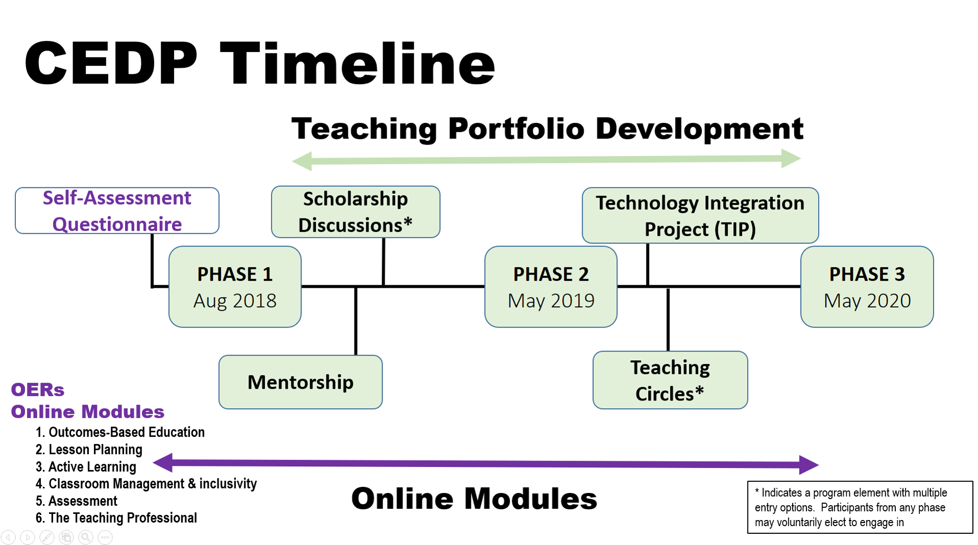 CEDP 2 year visual timeline for participants starting August 2018