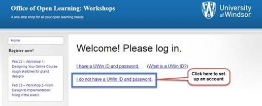 Office of Open Learning Uwin Login Page