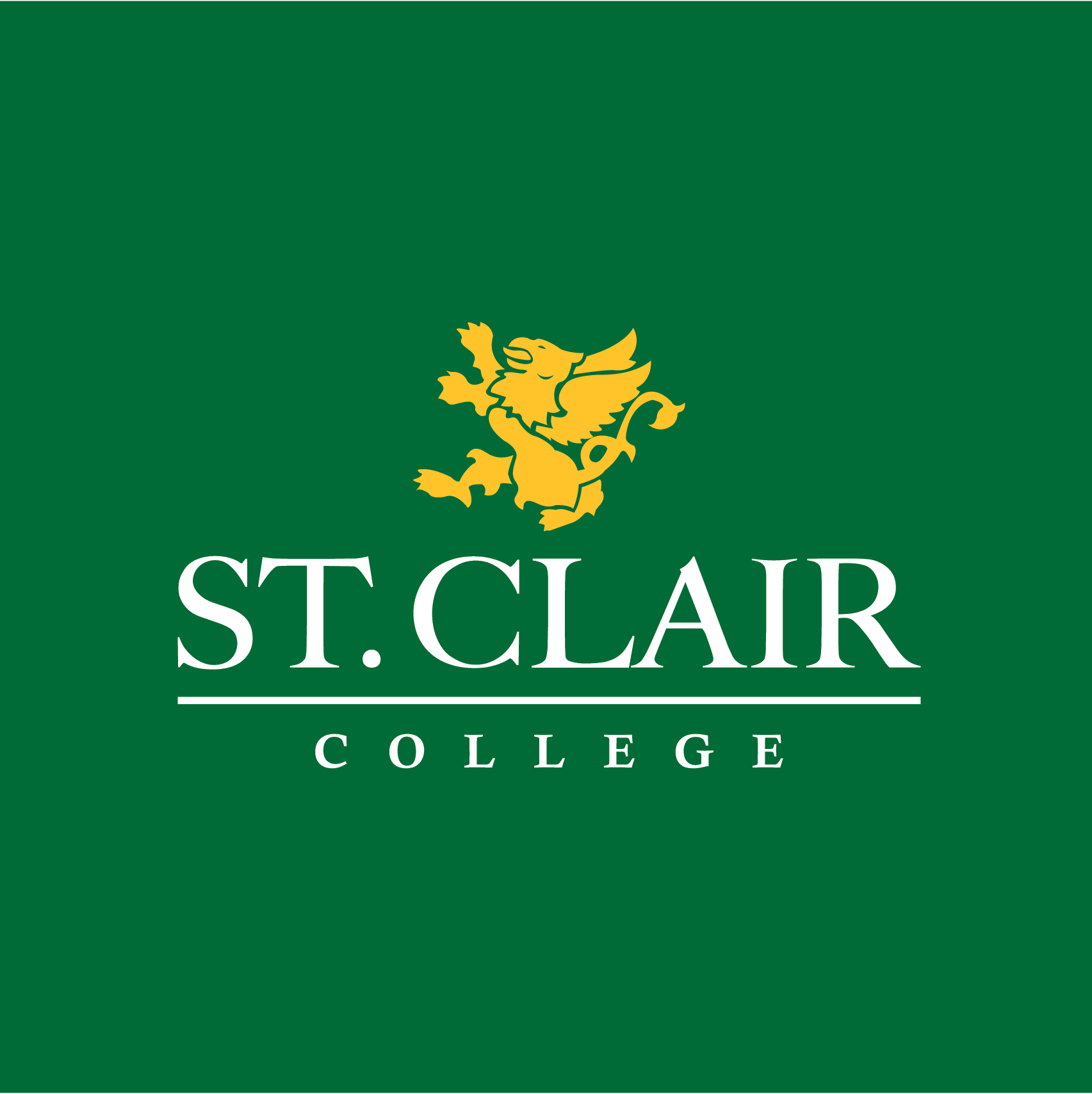 St. Clair College Green Background with Yellow image of a Griffin